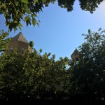Blue skies, still green leafs and a couple of church towers