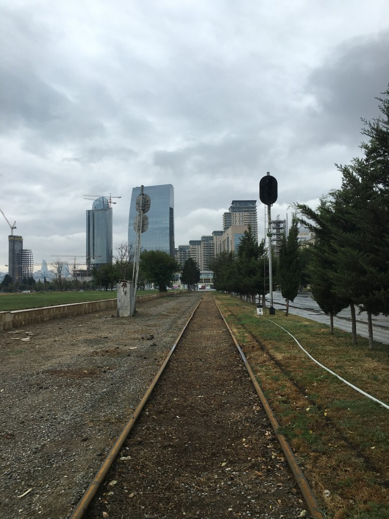 The train line has stopped but the tracks have now become part of the city landscape