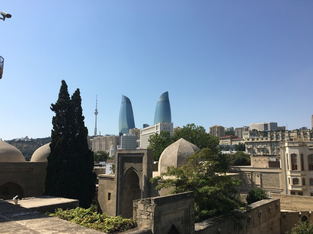 Turbe (Mausoleum) of shivanshahs  with the Flame Towers and Rasio Tower in the background