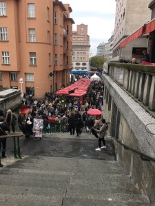 Lots of people come to buy at the market on Saturdays